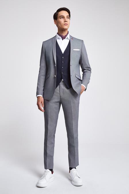 Twn Slim Fit Lacivert Armürlü Kombinli Takım Elbise - 8682060140197 | D'S Damat