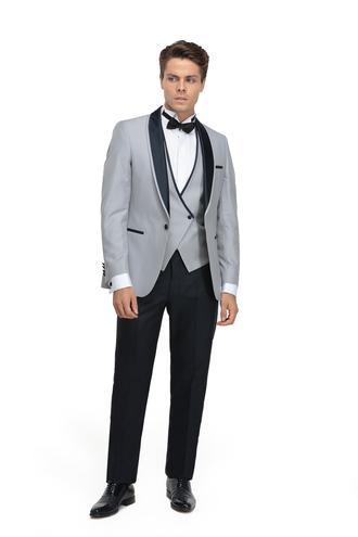 Ds Damat Slim Fit Slim Fit Gri Jakar Desenli Takim Elbise - 8682060623324 | D'S Damat