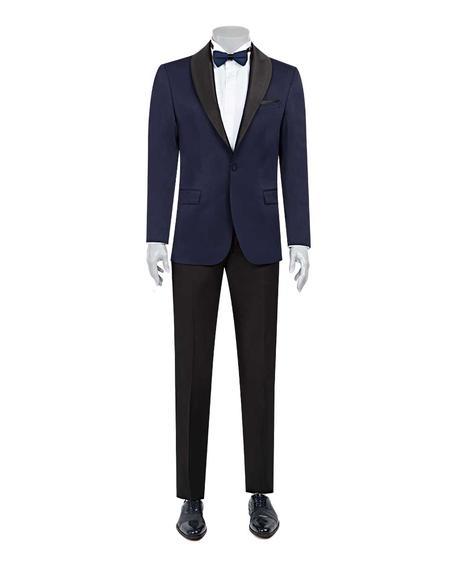 Ds Damat Slim Fit Slim Fit Lacivert Jakar Desenli Takim Elbise - 8682060623775   D'S Damat