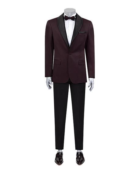 Ds Damat Slim Fit Slim Fit Bordo Jakar Desenli Smokin Takım Elbise - 8682060623898 | D'S Damat