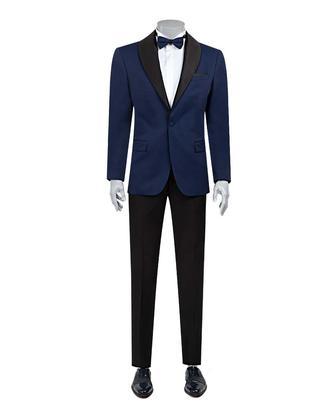 Ds Damat Slim Fit Saks Mavi Jakar Desenli Smokin Takım Elbise - 8682060624017 | D'S Damat