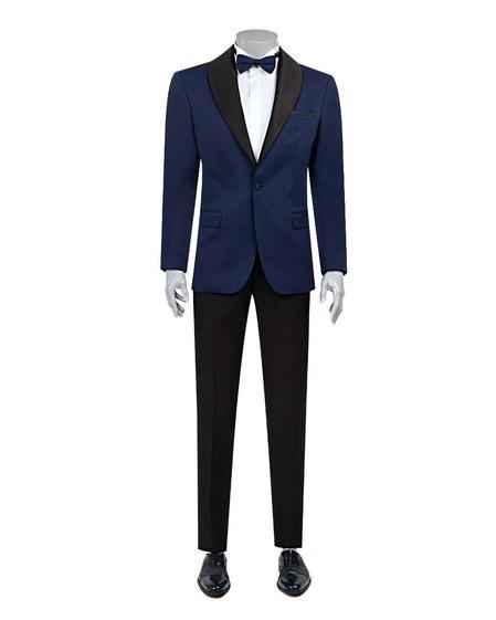 Ds Damat Slim Fit Slim Fit Saks Mavi Jakar Desenli Smokin Takım Elbise - 8682060624017 | D'S Damat