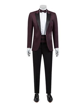 Ds Damat Slim Fit Slim Fit Bordo Jakar Desenli Takim Elbise - 8682060624123 | D'S Damat