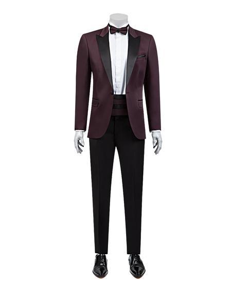 Ds Damat Slim Fit Slim Fit Bordo Jakar Desenli Smokin Takım Elbise - 8682060624123 | D'S Damat