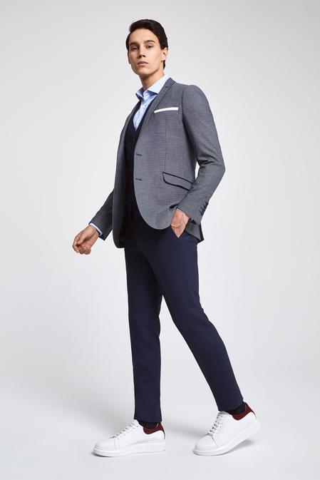 Twn Slim Fit Lacivert Armürlü Kombinli Takım Elbise - 8682060140401 | D'S Damat