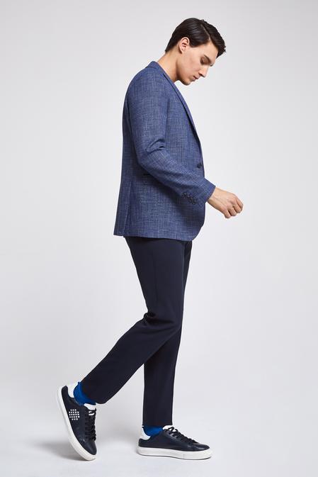 Twn Slim Fit Lacivert Armürlü Kombinli Takım Elbise - 8682060141132 | D'S Damat