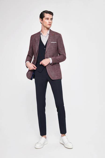 Twn Slim Fit Bordo Armürlü Kombinli Takım Elbise - 8682060141422 | D'S Damat