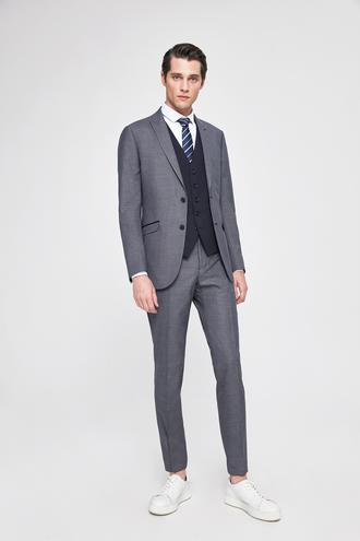 Twn Slim Fit Slim Fit Lacivert Armürlü Kombinli Takım Elbise - 8682060141538 | D'S Damat
