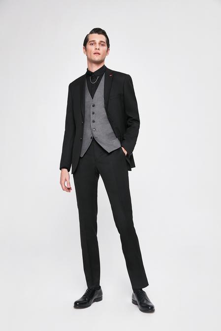 Twn Slim Fit Slim Fit Siyah Armürlü Kombinli Takım Elbise - 8682060141750 | D'S Damat