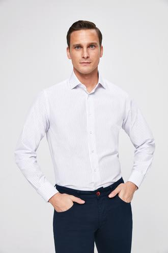 Ds Damat Regular Fit Beyaz Çizgili Gömlek - 8682445313017 | D'S Damat