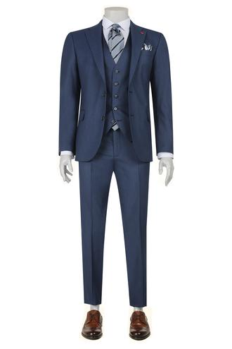 Ds Damat Slim Fit Slim Fit Lacivert Yelekli Takim Elbise - 8682060148643 | D'S Damat
