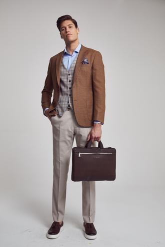 Ds Damat Slim Fit Slim Fit Kahve Armürlü Kombinli Takım Elbise - 8682060149008 | D'S Damat