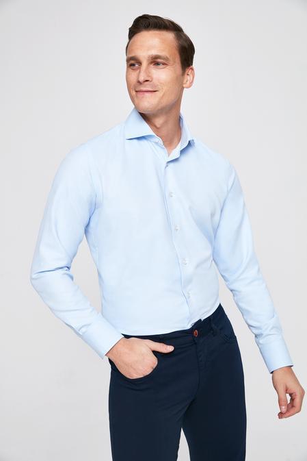 Ds Damat Slim Fit Mavi Armürlü Gomlek - 8681779777366 | D'S Damat