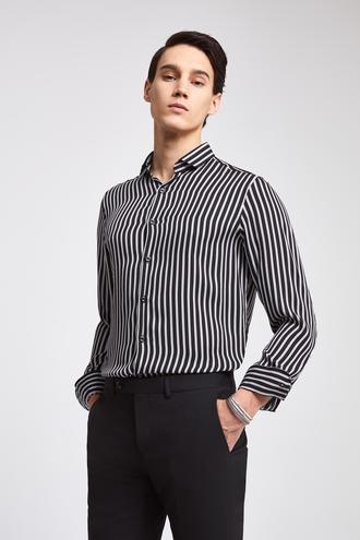 Twn Slim Fit Siyah Çizgili Gömlek - 8682060097514 | D'S Damat