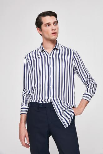 Twn Slim Fit Beyaz Çizgili Gömlek - 8681779788294 | D'S Damat