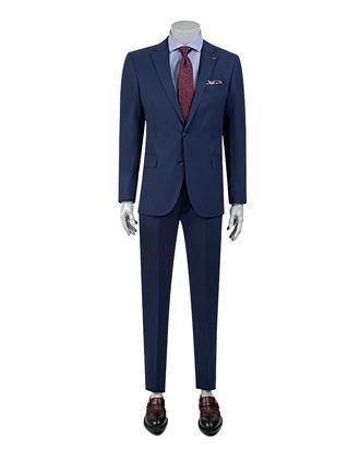 Ds Damat Slim Fit Slim Fit Saks Mavi Düz Takim Elbise - 8681779984696 | D'S Damat