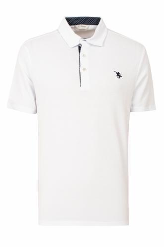 Ds Damat Slim Fit Beyaz Pike Dokulu T-shirt - 8681779870456 | D'S Damat