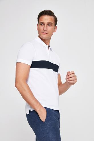 Twn Slim Fit Beyaz Pike Dokulu T-shirt - 8682060914484 | D'S Damat
