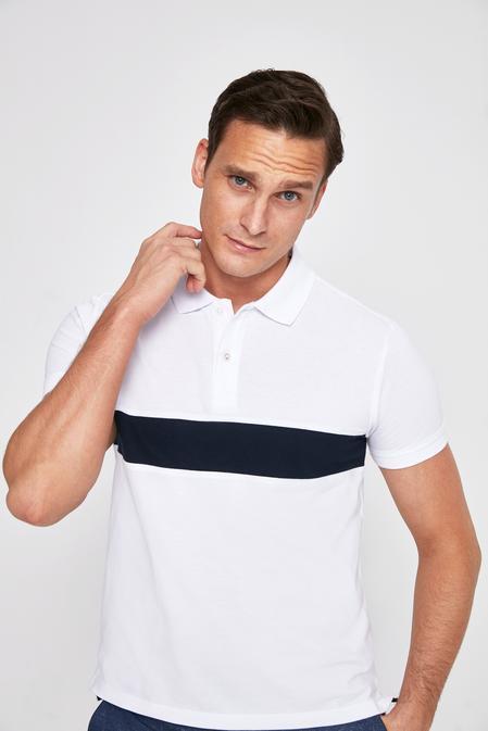 Twn Slim Fit Beyaz Pike Dokulu T-shirt - 8682060044532 | D'S Damat