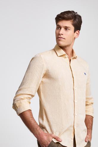 Ds Damat Slim Fit Sarı Düz Gömlek - 8681779926825 | D'S Damat