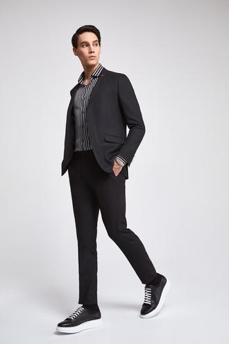 Twn Slim Fit Slim Fit Siyah Armürlü Takim Elbise - 8681779958826 | D'S Damat