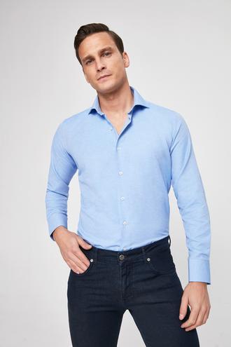 Ds Damat Slim Fit Mavi Armürlü Gömlek - 8681779777427 | D'S Damat