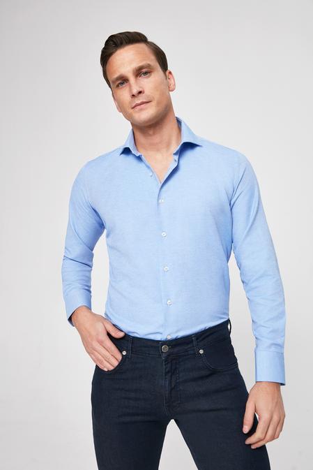 Ds Damat Slim Fit Mavi Armürlü Gömlek - 8682445099201 | D'S Damat
