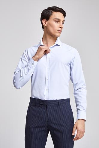 Twn Slim Fit Mavi Armürlü Gömlek - 8682060079510 | D'S Damat