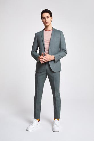 Twn Slim Fit Slim Fit Yeşil Armürlü Takim Elbise - 8682060080264 | D'S Damat