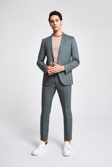 Twn Slim Fit Yeşil Armürlü Takım Elbise - 8682060080264 | D'S Damat