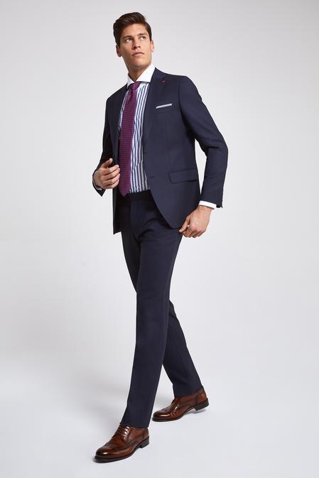 Ds Damat Slim Fit Lacivert Armürlü Takım Elbise - 8682060782601 | D'S Damat