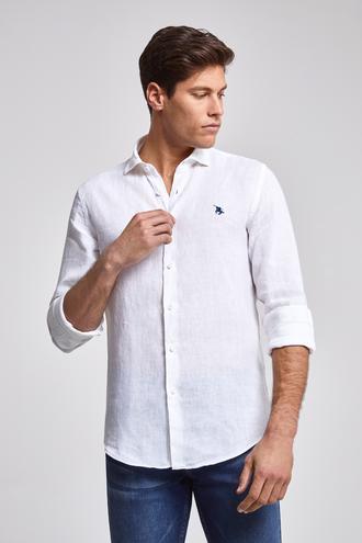 Ds Damat Slim Fit Beyaz Düz Keten Gömlek - 8682445012682 | D'S Damat