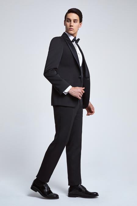 Ds Damat Slim Fit Siyah Armürlü Smokin Yelekli Takım Elbise - 8682060136602 | D'S Damat