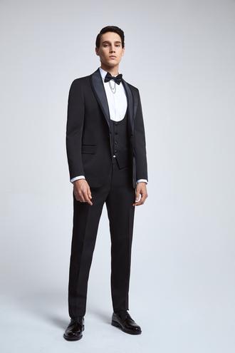 Ds Damat Slim Fit Siyah Armürlü Smokin Yelekli Takım Elbise - 8682445081558 | D'S Damat