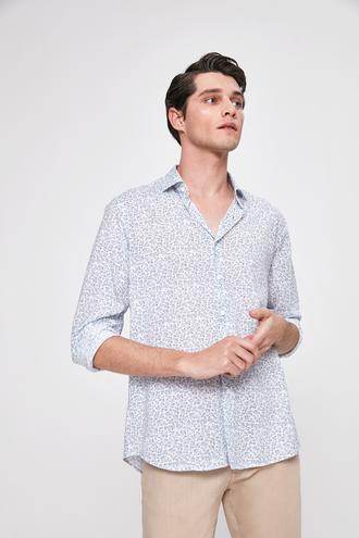Twn Slim Fit Mavi Baskılı Gömlek - 8682445291612 | D'S Damat