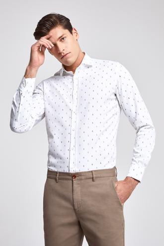 Ds Damat Slim Fit Beyaz Baskılı Gömlek - 8681779894919 | D'S Damat