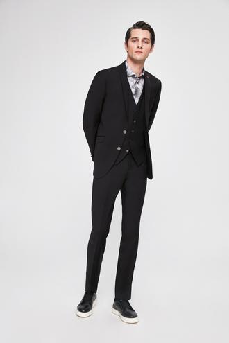 Twn Slim Fit Slim Fit Siyah Düz Yeleklı Takım Elbıse - 8682060150790 | D'S Damat