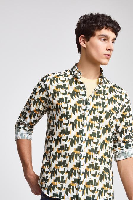 Twn Slim Fit Karma Renk Baskılı Vual Gömlek - 8682060169891   D'S Damat