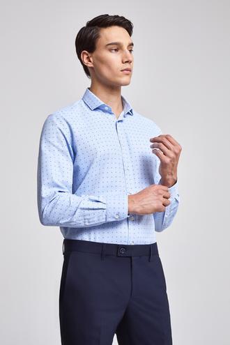 Twn Slim Fit Mavi Armürlü Gömlek - 8682060774255 | D'S Damat