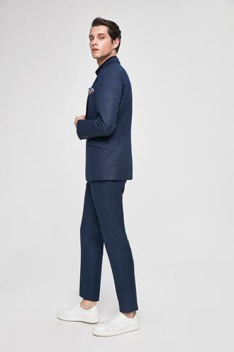 Twn Slim Fit Slim Fit Lacivert Armürlü Takim Elbise - 8682060178343 | D'S Damat
