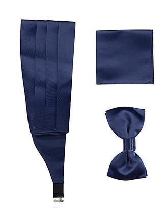 Ds Damat Lacivert Düz Kusak-Papyon-Mendil Set - 8682060243812 | D'S Damat