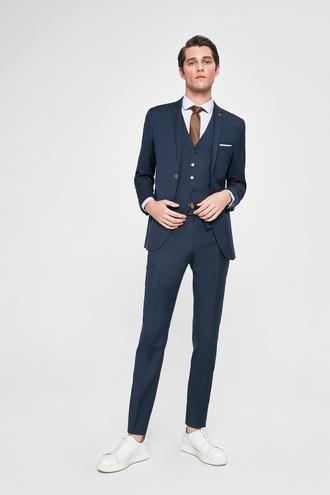 Twn Slim Fit Slim Fit Lacivert Armürlü Yelekli Takım Elbise - 8682060251428 | D'S Damat