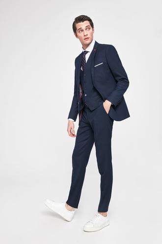 Twn Slim Fit Lacivert Armürlü Yelekli Takım Elbise - 8682445100648 | D'S Damat