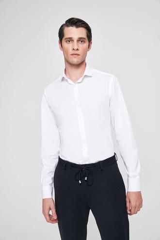 Twn Slim Fit Beyaz Armürlü Gomlek - 8682060283436 | D'S Damat