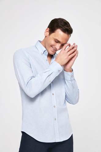 Ds Damat Slim Fit Mavi Örme Gömlek - 8682060283696 | D'S Damat