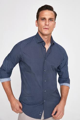 Ds Damat Slim Fit Lacivert Baskılı Gömlek - 8682060284013 | D'S Damat