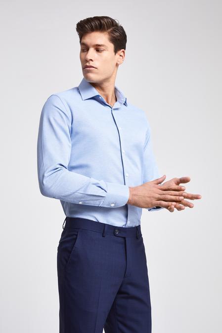 Ds Damat Slim Fit Mavi Armürlü Gomlek - 8681779776475 | D'S Damat