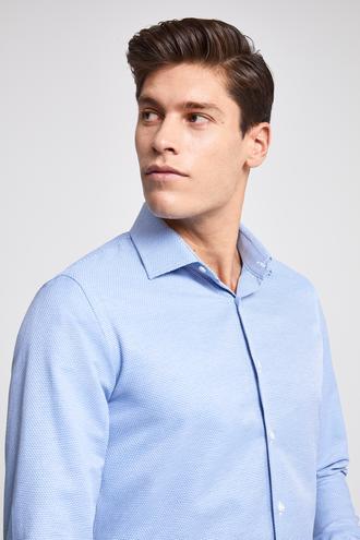 Ds Damat Slim Fit Mavi Armürlü Gömlek - 8682060146328 | D'S Damat