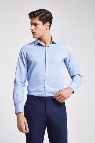 Ds Damat Slim Fit Mavi Armürlü Gömlek - 8682060926708 | D'S Damat
