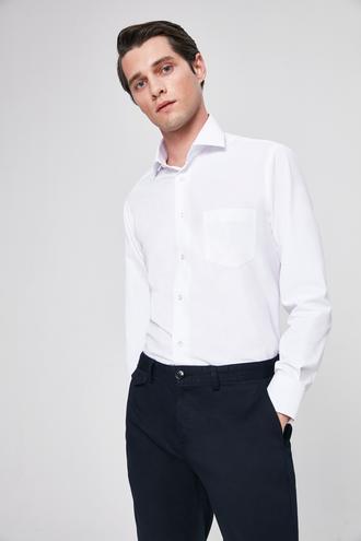 Ds Damat Regular Fit Beyaz Armürlü Gömlek - 8682445098754 | D'S Damat